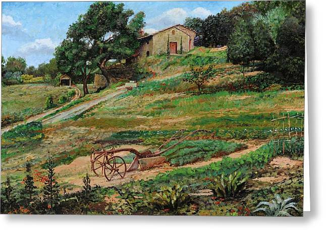 Italian Landscapes Greeting Cards - Plough, Cortona, 1999 Oil On Canvas Greeting Card by Trevor Neal