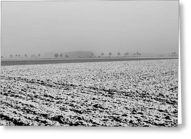 Outlook Greeting Cards - Ploughed acre in winter - monochrome Greeting Card by Intensivelight
