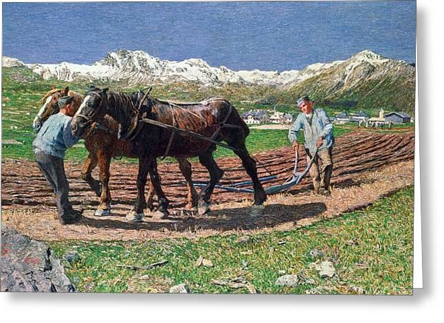 Neo Greeting Cards - Ploughing Greeting Card by Giovanni Segantini