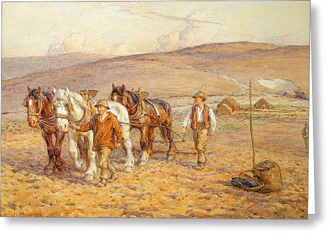 Working Farms Greeting Cards - Ploughing Greeting Card by Joseph Harold Swanwick