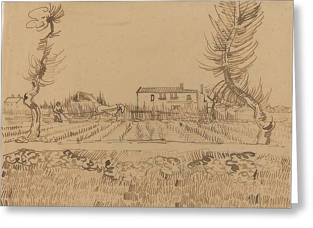 Ploughman In The Fields Near Arles Greeting Card by Vincent van Gogh