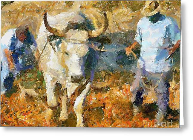 Landscape Posters Greeting Cards - Ploughmen Greeting Card by Dragica  Micki Fortuna