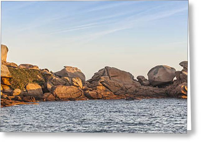 Horizontal Panorama Greeting Cards - Ploumanach Lighthouse Brittany France Greeting Card by Colin and Linda McKie