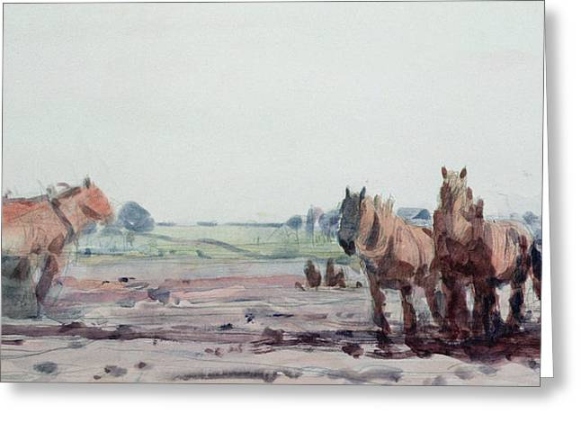 Mud Greeting Cards - Plow Horses Greeting Card by Harry Becker