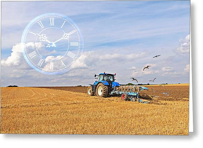 Harvest Time Greeting Cards - Plowing Time Greeting Card by Gill Billington