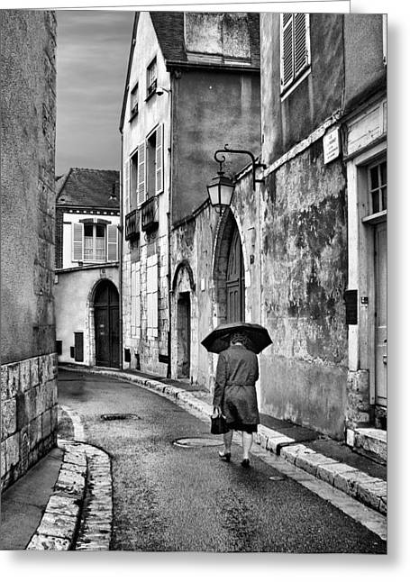 Commune Greeting Cards - Pluie a Chartres #2 - Black and White Greeting Card by Nikolyn McDonald