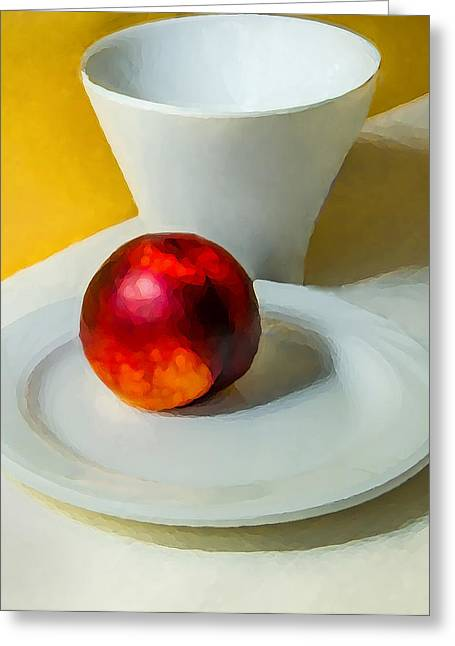 Saucer Peach Greeting Cards - Plum and Cup Greeting Card by Richard Marquardt