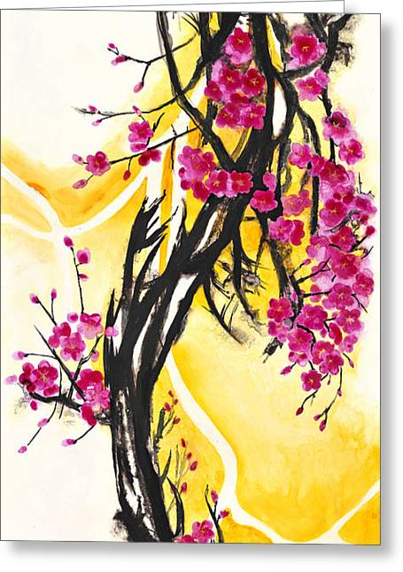 Plum Greeting Cards - Plum Blossoms Greeting Card by Antony Galbraith