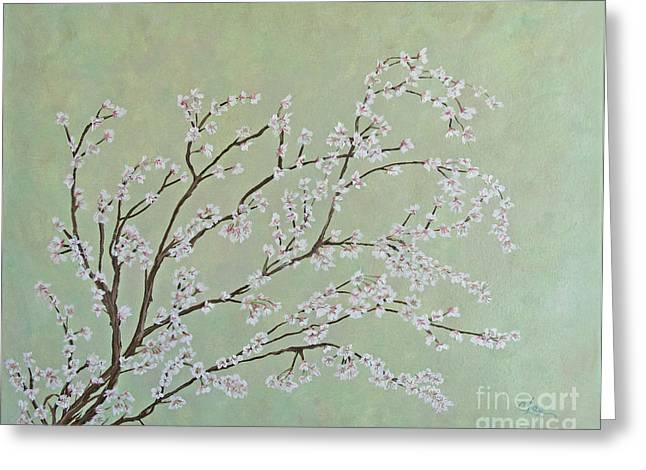 Photos With Red Paintings Greeting Cards - Plum Blossoms Greeting Card by Cindy Lee Longhini