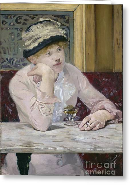 Pensive Greeting Cards - Plum Brandy Greeting Card by Edouard Manet