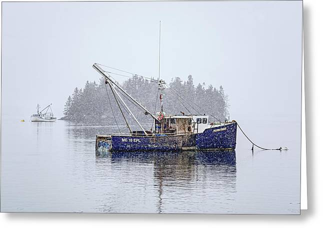 Fishing Boats Greeting Cards - Plum Crazi in the Snow Greeting Card by Marty Saccone