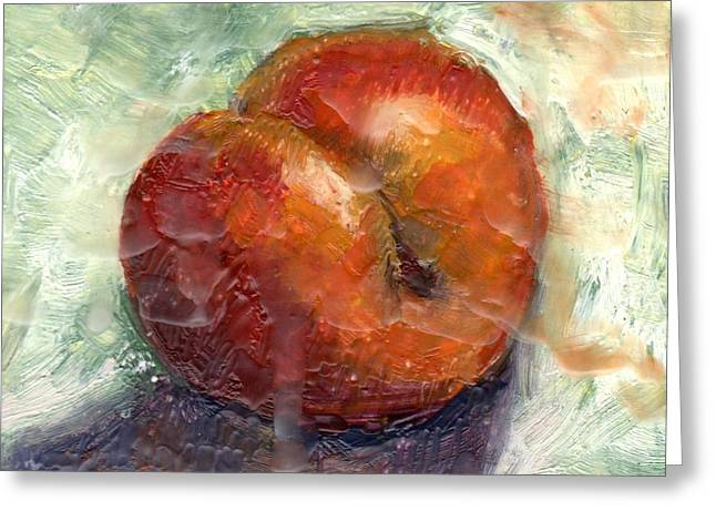 Artist Trading Card Greeting Cards - Plum Greeting Card by Marlene Lee