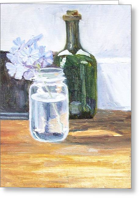 Plumbago In Glass Jar Greeting Card by Mary Adam