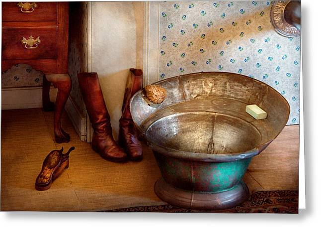 Leather Boots Greeting Cards - Plumber - Bath Day Greeting Card by Mike Savad