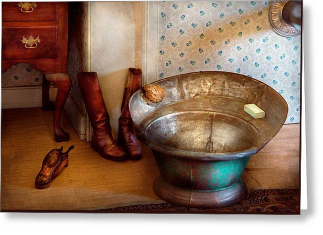 Wash Tubs Greeting Cards - Plumber - Bath Day Greeting Card by Mike Savad