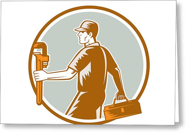 Toolbox Greeting Cards - Plumber Carry Toolbox Wrench Circle Woodcut Greeting Card by Aloysius Patrimonio