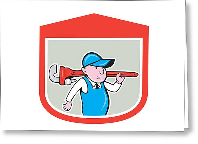 Plumber Greeting Cards - Plumber Holding Big Monkey Wrench Shield Cartoon Greeting Card by Aloysius Patrimonio