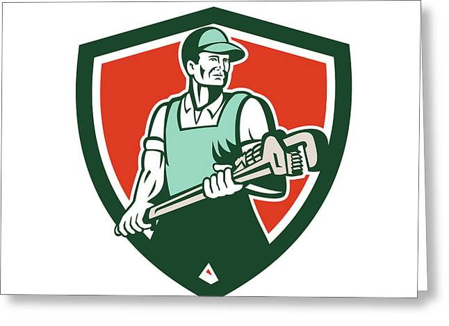 Plumber Greeting Cards - Plumber Holding Giant Wrench Retro Shield Greeting Card by Aloysius Patrimonio