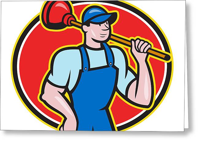 Plumber Greeting Cards - Plumber Holding Plunger Cartoon Greeting Card by Aloysius Patrimonio