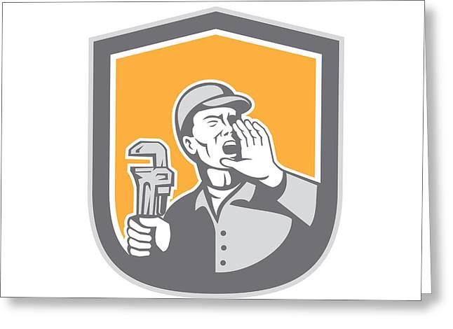 Plumber Greeting Cards - Plumber Shouting Holding Wrench Shield Retro Greeting Card by Aloysius Patrimonio
