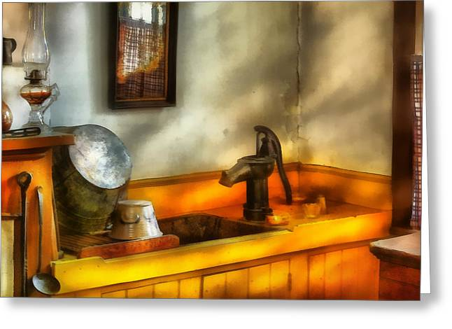 Hurricane Lamp Greeting Cards - Plumber - The Wash Basin Greeting Card by Mike Savad