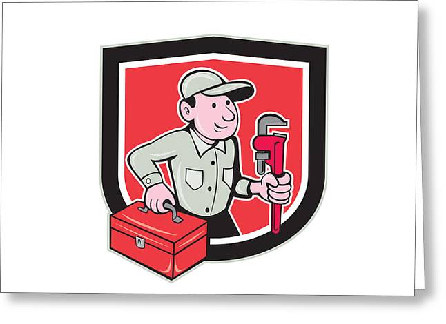 Toolbox Greeting Cards - Plumber Toolbox Monkey Wrench Shield Cartoon Greeting Card by Aloysius Patrimonio