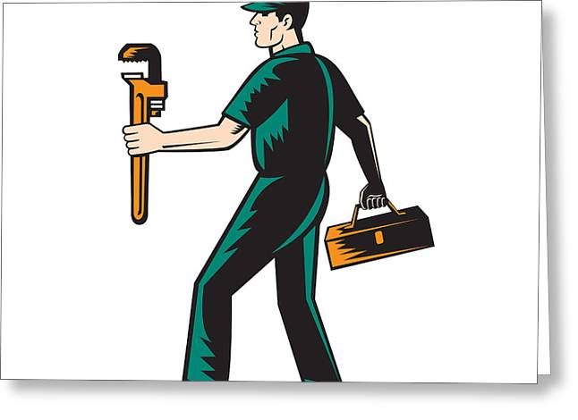 Toolbox Greeting Cards - Plumber Walking Carry Toolbox Wrench Woodcut Greeting Card by Aloysius Patrimonio