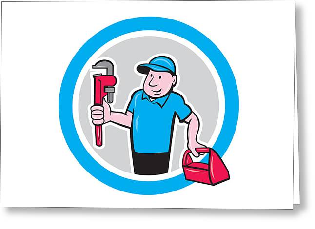 Plumber Greeting Cards - Plumber With Monkey Wrench Toolbox Cartoon Greeting Card by Aloysius Patrimonio