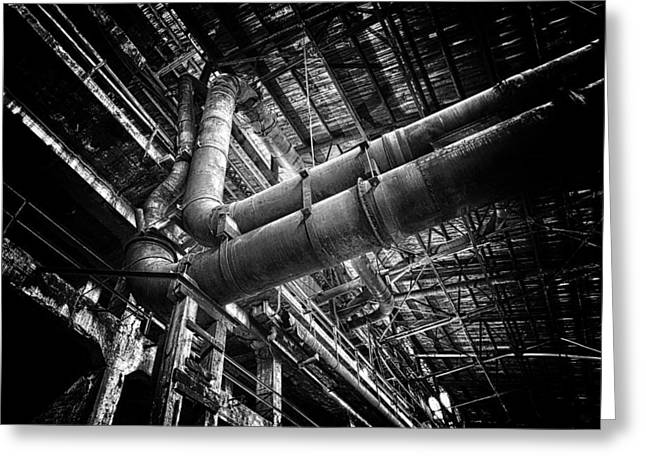 Commercial Photography Pyrography Greeting Cards - Plumbing Pipes Greeting Card by Jack Vainer