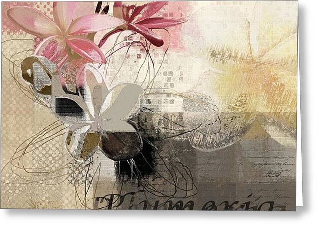 Digital Collage Greeting Cards - Plumeria - 064073079m3 Greeting Card by Variance Collections