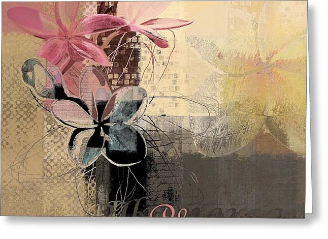 Digital Collage Greeting Cards - Plumeria - 64-115152167m4t3b Greeting Card by Variance Collections