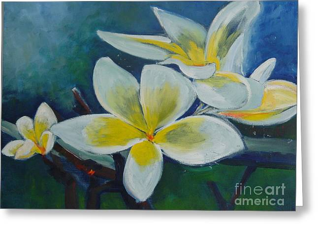 Surprise Greeting Cards - Plumeria bloom Greeting Card by Aline Halle-Gilbert