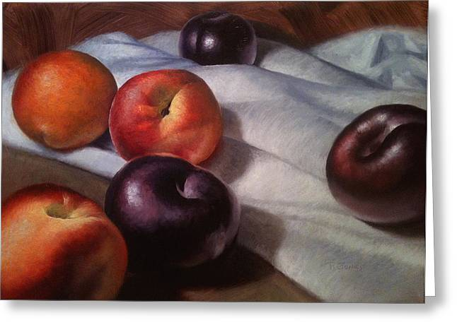 Plum Greeting Cards - Plums and Nectarines Greeting Card by Timothy Jones