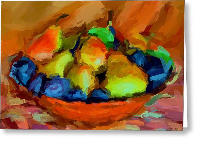 Plums and Pears Greeting Card by Yury Malkov