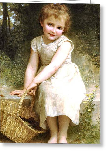 Off-the-shoulder Greeting Cards - Plums Greeting Card by William Bouguereau