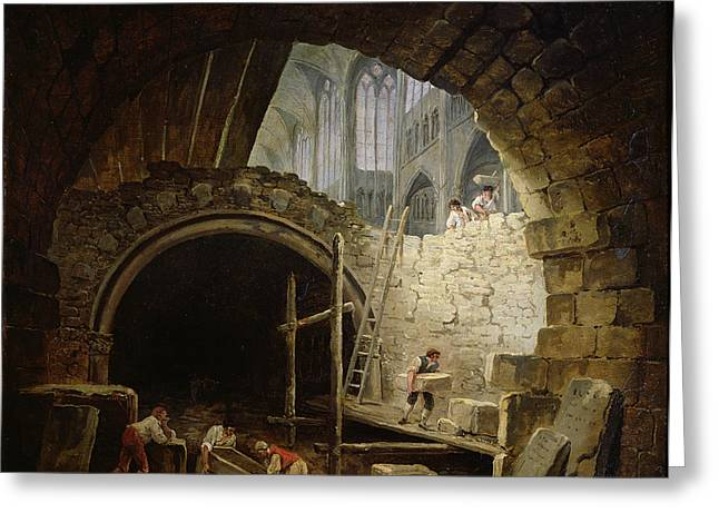 Coffin Greeting Cards - Plundering The Royal Vaults At St. Denis In October 1793 Oil On Canvas Greeting Card by Hubert Robert