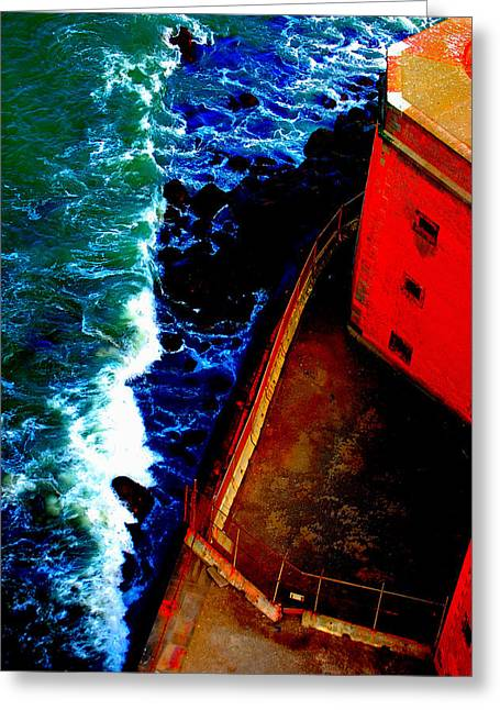 Plunging From Golden Gate Greeting Card by Holly Blunkall