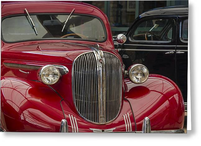 American Automobiles Greeting Cards - Plymouth 1938 Greeting Card by Ayhan Altun
