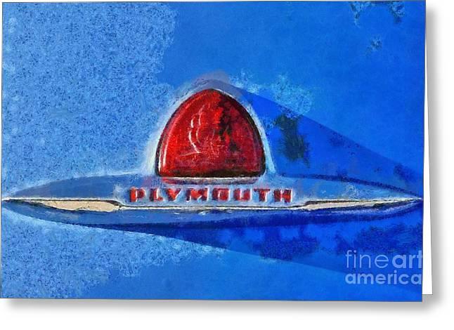 Vintage Hood Ornament Paintings Greeting Cards - Plymouth badge Greeting Card by George Atsametakis