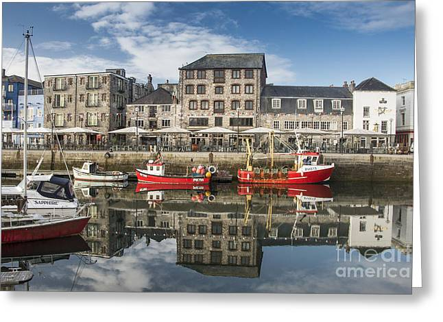 Seaside Digital Art Greeting Cards - Plymouth Barbican Harbour Greeting Card by Donald Davis