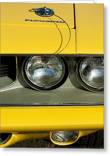Plymouth Greeting Cards - Plymouth Barracuda - Hemi Cuda - Head Lights Emblem Greeting Card by Jill Reger