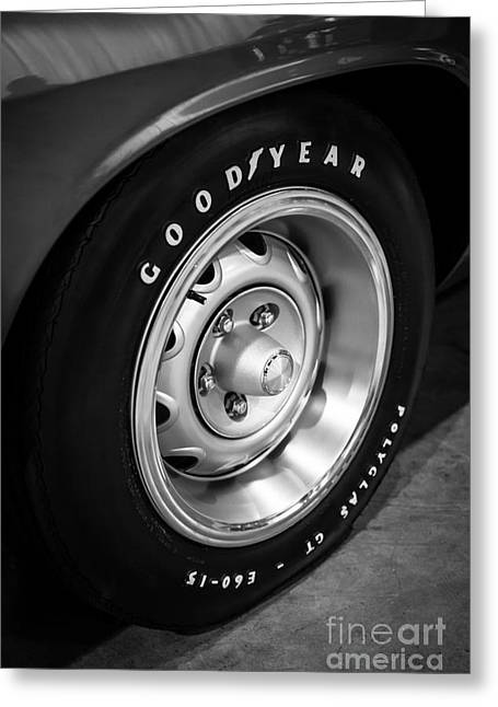 Rally Greeting Cards - Plymouth Cuda Rallye Wheel Greeting Card by Paul Velgos