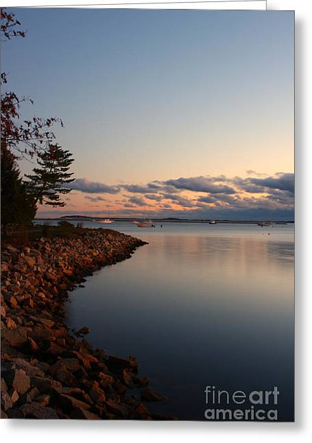 Plymouth Harbor Greeting Cards - Plymouth Harbor at Sunrise Greeting Card by Kelly Carey