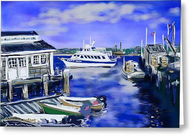New England Ocean Drawings Greeting Cards - Plymouth Harbor Greeting Card by Jean Pacheco Ravinski