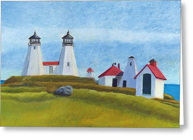 New England Lighthouse Drawings Greeting Cards - Plymouth Light Station Before 1924 Greeting Card by Dominic White