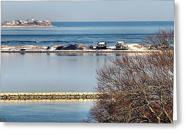 Gurnet Light Greeting Cards - Plymouth MA Harbor and Bay Greeting Card by Janice Drew