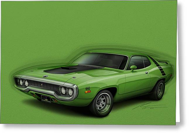 Furious Greeting Cards - Plymouth Roadrunner 1972 Greeting Card by Etienne Carignan