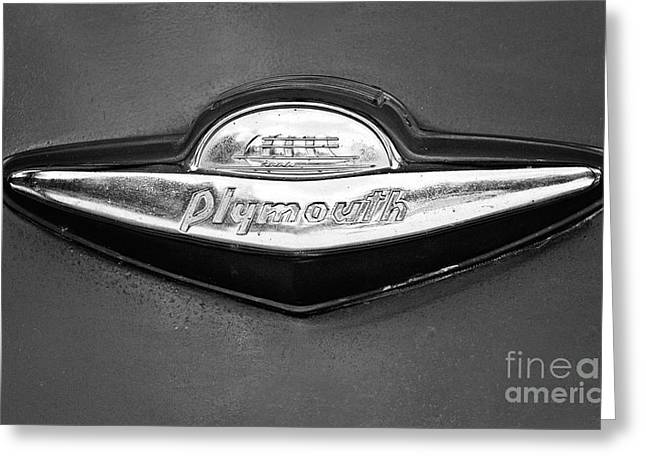 Chrome Emblem Greeting Cards - Plymouth Trunk Emblem Greeting Card by Scott Pellegrin