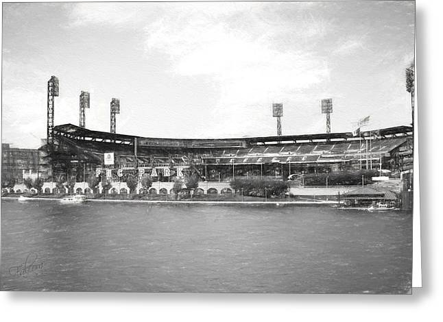 Pnc Park Digital Art Greeting Cards - PNC Park Charcoal Look Greeting Card by Stephen Falavolito