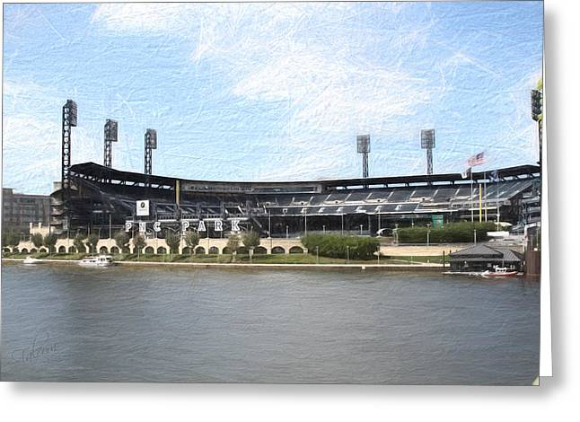 Pnc Park Digital Art Greeting Cards - PNC Park Painting Look Greeting Card by Stephen Falavolito